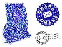 Collage de la comunicaci?n del poste del mapa de mosaico de los sellos de Ghana y de la desolaci?n stock de ilustración