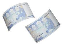 Collage de la cuenta del euro veinte aislado en blanco Fotografía de archivo