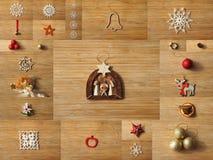 Collage de la decoración del árbol de navidad foto de archivo