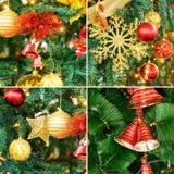 Collage de la decoración del árbol de navidad Imagenes de archivo