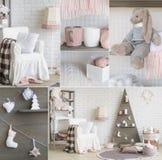 Collage de la decoración interior del Año Nuevo Fotografía de archivo