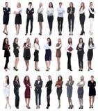 Collage de la empresaria moderna acertada Aislado en blanco foto de archivo libre de regalías