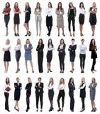 Collage de la empresaria moderna acertada Aislado en blanco imagenes de archivo