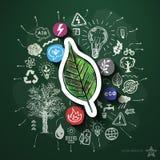 Collage de la energía de Eco con los iconos en la pizarra Foto de archivo libre de regalías