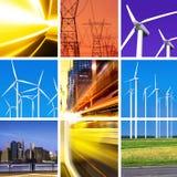 Collage de la energía eléctrica fotografía de archivo