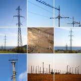 Collage de la energía eléctrica foto de archivo