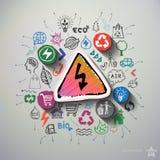 Collage de la energía de Eco con el fondo de los iconos Fotografía de archivo