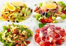 Collage de la ensalada deliciosa de la dieta Fotografía de archivo