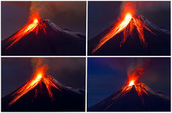 Collage de la erupción del volcán de Tungurahua foto de archivo libre de regalías