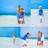 Collage de la familia de cuatro miembros que se divierte en la playa Imagen de archivo libre de regalías