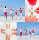 Collage de la familia de cuatro miembros que se divierte en la playa Imagen de archivo