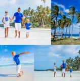 Collage de la familia de tres que se divierten en la playa Fotografía de archivo libre de regalías
