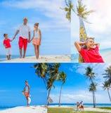 Collage de la familia de tres que se divierten en la playa Foto de archivo libre de regalías