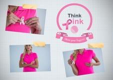 Collage de la foto de la conciencia del cáncer del texto y de pecho de Think Pink Imagen de archivo