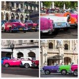 Collage de la foto de Cuba con los coches clásicos Imagen de archivo