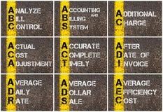 Collage de la foto de las siglas del negocio Imagen de archivo