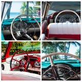 Collage de la foto de los coches clásicos con la visión interior en Cuba Imagen de archivo
