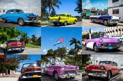Collage de la foto de los coches clásicos en Cuba con la bandera cubana nacional Fotos de archivo libres de regalías