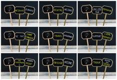 Collage de la foto de los mensajes del concepto escritos con tiza y la bombilla como símbolo para la idea Fotografía de archivo libre de regalías