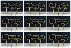 Collage de la foto de los mensajes del concepto escritos con tiza y la bombilla como símbolo para la idea Imagen de archivo