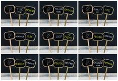Collage de la foto de los mensajes del concepto escritos con tiza y la bombilla como símbolo para la idea Imagenes de archivo