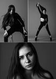 Collage de la foto de una muchacha en un estudio en un fondo negro Imagen de archivo