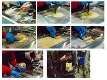 Collage de la foto del proceso de preparar el helado natural Fotografía de archivo libre de regalías