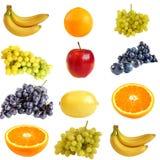 Collage de la fruta, aislado en un blanco Foto de archivo