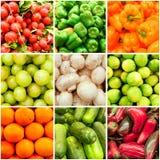 Collage de la fruta y verdura Imagen de archivo libre de regalías