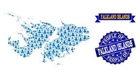 Collage de la gente del mapa de mosaico de Falkland Islands y del sello de la desolación ilustración del vector