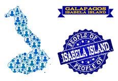 Collage de la gente del mapa de mosaico de las Islas Galápagos - de Isabela Island y del sello del Grunge stock de ilustración