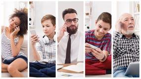 Collage de la gente diversa que usa los dispositivos digitales imágenes de archivo libres de regalías