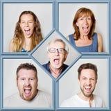Collage de la gente durante el griterío Foto de archivo libre de regalías