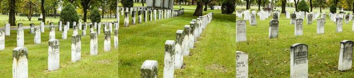 Collage de la hierba del cementerio del monumento de guerra de los veteranos Imágenes de archivo libres de regalías