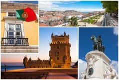 Collage de la imagen de la ciudad de Lisboa en Portugal Fotografía de archivo