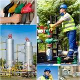 Collage de la industria de petróleo Foto de archivo libre de regalías
