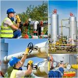 Collage de la industria de petróleo Fotografía de archivo