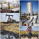 Collage de la industria petrolera del aceite Fotos de archivo libres de regalías