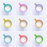 Collage de la leche en tazas coloridas Foto de archivo libre de regalías