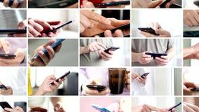 Collage de la mano usando el teléfono elegante de la pantalla táctil moderna
