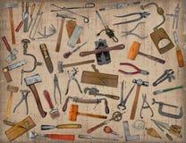 Collage de la mezcla de las herramientas del vintage Fotos de archivo
