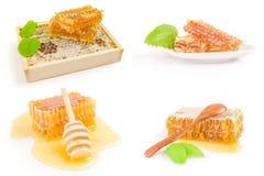 Collage de la miel aislado en un fondo blanco con la trayectoria de recortes Fotografía de archivo