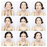 Collage de la misma mujer que hace diversas expresiones Foto de archivo libre de regalías