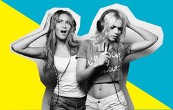 Collage de la moda del arte - muchachas de la belleza con un micrófono que cantan y que bailan Imagen de archivo