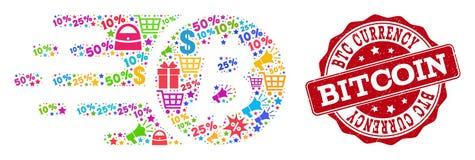 Collage de la moneda de Bitcoin del mosaico y sello de la desolación para las ventas stock de ilustración