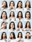 Collage de la muchacha hermosa con diversas expresiones faciales imagen de archivo libre de regalías