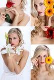 Collage de la muchacha hermosa con las diversas flores fotos de archivo libres de regalías