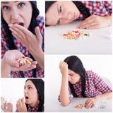 Collage de la muchacha que toma píldoras Imágenes de archivo libres de regalías