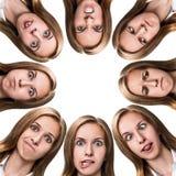 Collage de la mujer con diversas emociones Imágenes de archivo libres de regalías