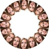 Collage de la mujer con diversas emociones Foto de archivo